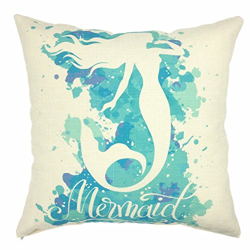 YOUR SMILE Mermaid Cotton Linen Decorative Throw Pillow Case Cushion Cover Pillowcase for Sofa 18 x 18 Inch,Aqua