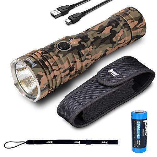 Linternas Led Alta Potencia Recargable 4200 Lúmenes,WUBEN T70 CREE XHP70.2 LED Blanco cálido 5000K Impermeable Linterna Militar Tactica con 26650 batería para Actividades al aire libre y acampar