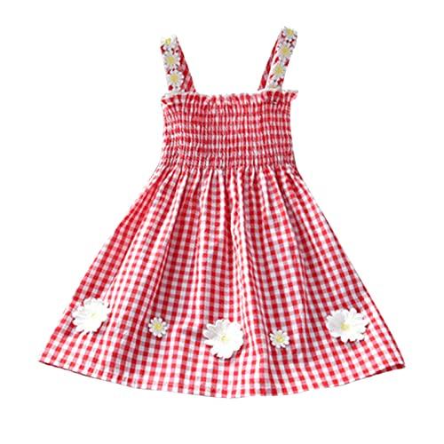 Vestido Camisola para niñas, Lindo Vestido de Chaleco, Ropa para niños, Estilo de Verano, Vestido de Princesa a Cuadros sin Mangas, Vestido Diario (1-5 años)