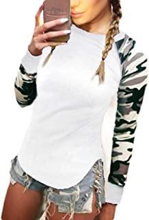 flywinner Womens Patch Long Sleeve Slim Fit Crewneck Camouflage T-shirts