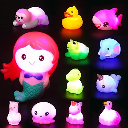 JOYIN 12 Packs Light-Up Bath Toys, Bathtub Dinosaur Toys for Baby...