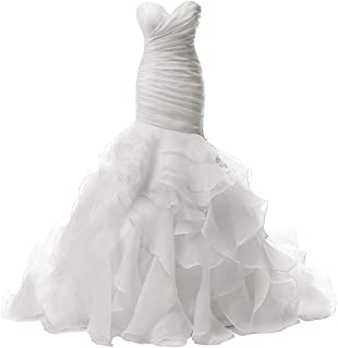 6cb34fa954999 JAEDEN Wedding Dress Mermaid Strapless Bridal Dresses Ruffles Wedding Gown  Sweetheart Bride Dress Trumpet