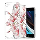 wonfurd Funda para iPhone SE 2020/7/8, diseño de flores, carcasa de cristal de gel, fina, hecha a mano, carcasa protectora para iPhone SE 2020/7/8-5