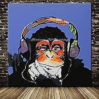 XKHSD 手描き現代抽象漫画動物油絵キャンバスに豚を着てメガネ壁アート用リビングルーム家の装飾