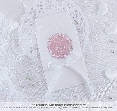 Freuden Tränen Taschentücher Set zur Hochzeit Groß 48 Sticker + 48 weiße Flachbeutel - 63 x 93 mm für Freudentränen Taschentuch Verpackungen Aufkleber in ROSA mit Ornamenten im Shabby Chic Look