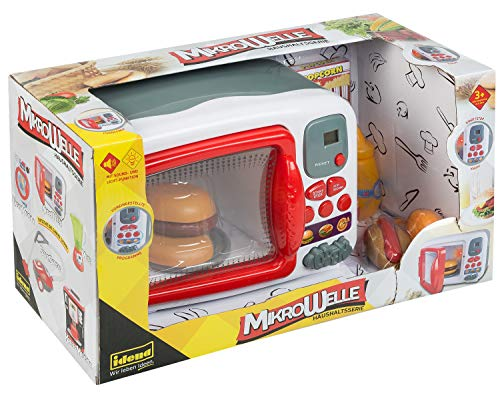 Idena 40450 - Haushaltsserie Mikrowelle mit 7 Grundfunktionen, umfangreichem Zubehör, Licht- und Toneffekten, ca. 17 x 39,5 x 22 cm, für Kinder, zum Erlernen praktischer Fertigkeiten in der Küche
