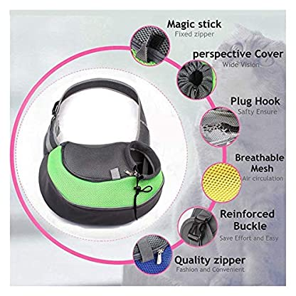 ZHOVAEAL Pet Carrier Dog Cat Hand Free Sling Carrier Outdoor Travel Sling Shoulder Bag for Dogs Cats Walking Subway Daily Use (Fits Small Animals Less Than 9lb Pink) 5