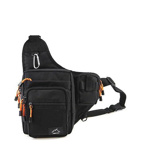 Hetto Black Fishing Sling Bags Fly Fishing Waist Bag Fishing Tackle Bag  Fishing Lure Bag Waterproof 0ef81c1bc942a
