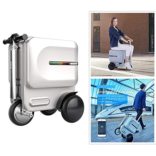 Zdcdy Smart Riding Scooter Suitcase, Lightweight Smart Manned Rideable Luggage Scooter for Men and Women, with Removable Power Bank Battery and Hidden Stretchable Rod, Capacity 29.3l,Silver-B