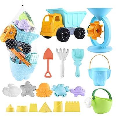 Biulotter 20Pcs Kids Beach Sand Toys Set Sand Water Wheel, Castle Molds, Truck Bucket, Beach Shovels RakesTool Kit, Hourglass, Sea Animal Molds, Watering Can, Cloud, with Mesh Backpack Sandbox 2019