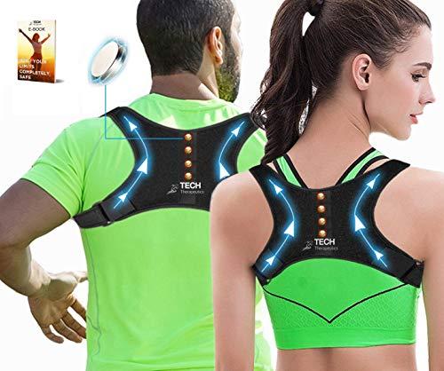 TECH THERAPEUTICS Design-Schulter-Haltungskorrektur-Rücken mit Magneten | Rückengeradehalter für Männer und Frauen | Inklusive E-Book | Haltungskorrektur-Rücken Gebrauchsmuster®