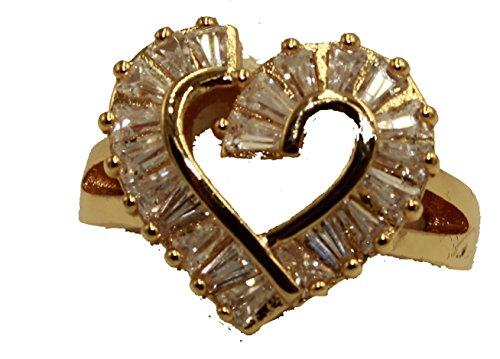 Diamantados of Fla Corazón bagette Anillo con circonitas 18K Chapado en Oro Anillo–Anillo de corazón Tamaño 7