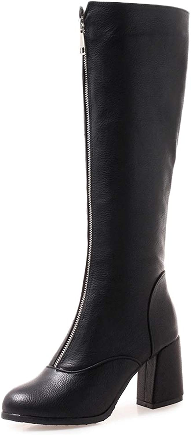 Women's Knee-high Boots Square High Heel Woman Front Zipper Fashion shoes Motorcycle Riding Boot