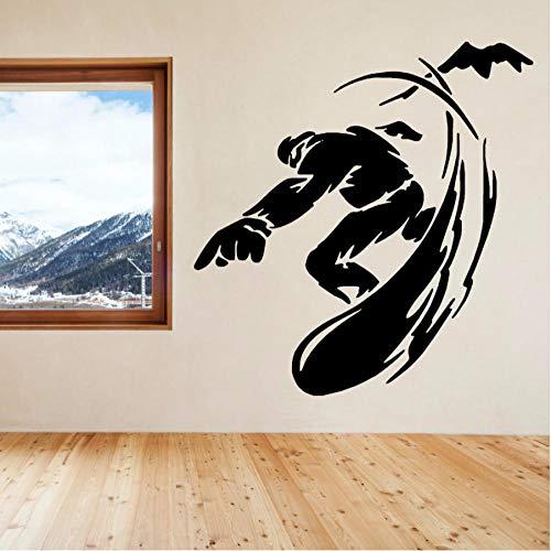 MUXIAND Muursticker, Snowboarden DIY Office Regels Decor Woonmuur voor Kids Kamer PVC Art Custom Mural Waterdichte Afneembare Geschenk Verjaardag 55x57cm
