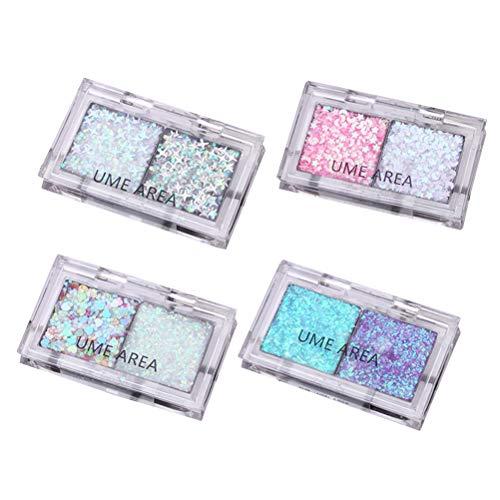 Lurrose 4pcs coloré gel de paillettes composent nail art mariages mixtes cosmétiques visage yeux corps peau cheveux