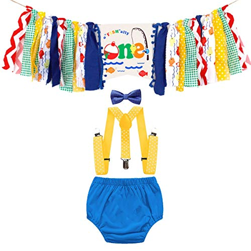 HIHCBF Ofishally One Cake Smash Outfit 1st Birthday Photo Shoot Costume Diaper Cover Bowtie Suspenders Decorations Kit Highchair Banner