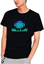 Top for Men Party Disco DJ Sound Activated LED Light Up and Down Flashing Glowing Printed Crewneck Short-Sleeve T Shirt