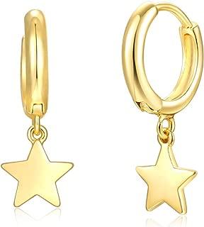 Gold Huggie Hoop Earrings,Cross/Star/Flamingo/Lightning Bolt Dangle Hoop Cuff Earrings Huggie Stud Earrings for Women