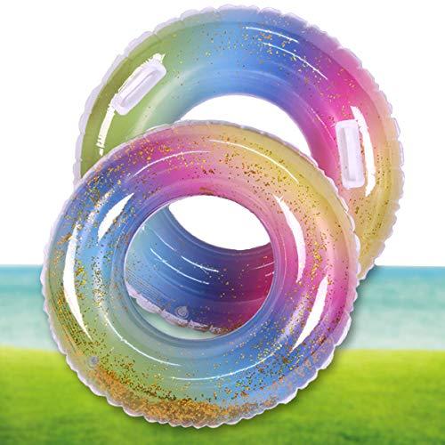 dancepandas Anillo de Natación Lentejuelas 2PCS Flotador Hinchable Redondo Swim Ring Flotador de Piscina para Fiesta de Verano Diversión Acuática Playa para Adulto Niños