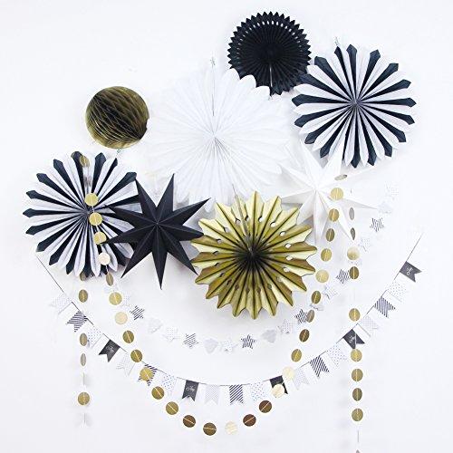 Sunbeauty 11-delige set, rood/goud/wit vakken, slinger, ster decoratie, serie, kerstmis, wanddecoratie, raamdecoratie zwart, goud en wit.