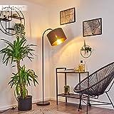 Stehleuchte Pattburg, moderne Bodenlampe aus Metall in schwarz, 1-flammige Standlampe mit Stoffschirm in braun/goldfarben, 1 x E27 max. 60 Watt, für LED...