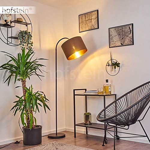 Stehleuchte Pattburg, moderne Bodenlampe aus Metall in schwarz, 1-flammige Standlampe mit Stoffschirm in braun/goldfarben, 1 x E27 max. 60 Watt, für LED Leuchtmittel geeignet