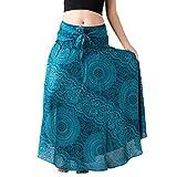 Andouy Lange Maxiröcke für Frauen Gypsy Hippie Kleidung Elastische Taille Bohemian Boho Röcke(S.Blau)