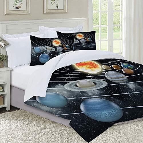 VICCHYY Juego de Funda nordica,Ropa de Cama,Solar System All Eight Planets and The Sun Pluto Jupiter Mars Venus Science Fiction,Microfibra,Edredon 240x260cm con 2 Fundas de Almohada 50x80cm