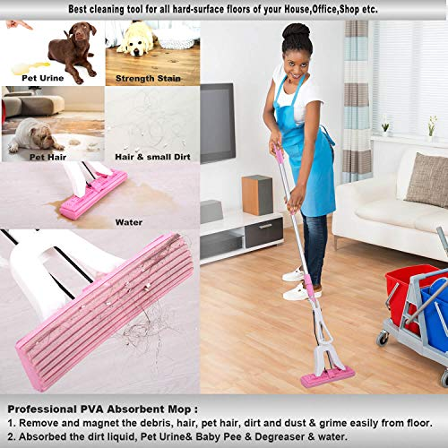 HomsHug PVA Sponge Mop with 2 Absorbent Mop Head Refills Adjustable Extension Wringer Handle Easy Clean for Hardwood Floor Kitchen Home Cleaning