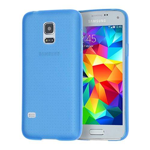 doupi UltraSlim Custodia per Samsung Galaxy S5 Mini, Satinato fine Piuma Facile Mat Semi Trasparente Cover, Blue