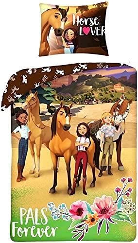 Halantex - SP-8321BL - Set Letto Reversibile Spirit Cavallo Selvaggio Pals Forever 100% Cotone 2 Pezzi Copripiumino e Federa - Multicolore - 140x200 cm / 70x90cm