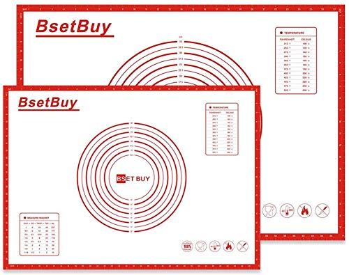 BSET BUY Backmatte 2er Set 71x51cm 40cm x 60cm, BPA Frei Silikon Backunterlage, Silikonmatte Backfolie Arbeitsmatte mit Messung für Fondant Gebäck Pizza Matte