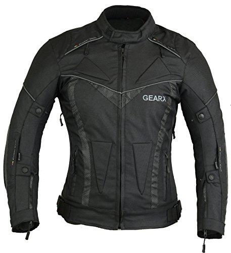 gearx Aircon Motorradjacke für den Sommer, Wasserabweisender Schutz Gr. XXXL, Schwarz