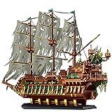 Foxcm Modular Bausteine Modell für Fliegender Holländer Piratenschiff, Geisterschiff Modellbausatz (3653 Teile) Kompatibel mit Lego Steinen