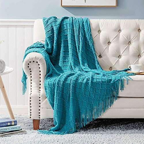LightHome 100% Acrylic Knit Throw Blanket, 50×60 Inch - Soft Warm Lightweight Decorative Blanket with Tassels for Couch, Bed, Sofa, Travel - All Seasons Suitable for Women, Men and Kids - Teal Blanket