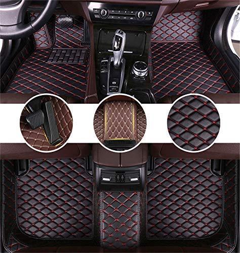 Muchkey Auto Tapetes de Piso Alfombra para Ford Kuga 2013-2018 (Split Rear Seats) Alfombrillas Impermeable Antideslizante de Cuero Interior Negro y Rojo