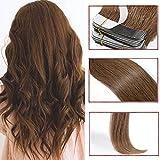 40 Pcs Extension Adhesive Naturel Cheveux Bande Adhésive Ruban Adhésif - Rajout Extensions Cheveux Humains Naturels Remy Hair (#06 Marron clair, 35cm)