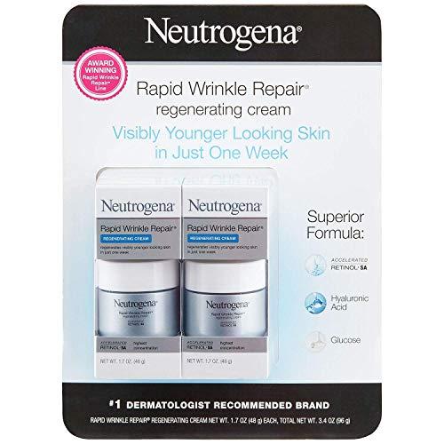 Price comparison product image Neutrogena Rapid Wrinkle Repair Retinol Regenerating Face Cream & Hyaluronic Acid Anti Wrinkle Face Moisturizer,  Neck Cream,  with Hyaluronic Acid & Retinol,  1.7 oz (Pack of 2)