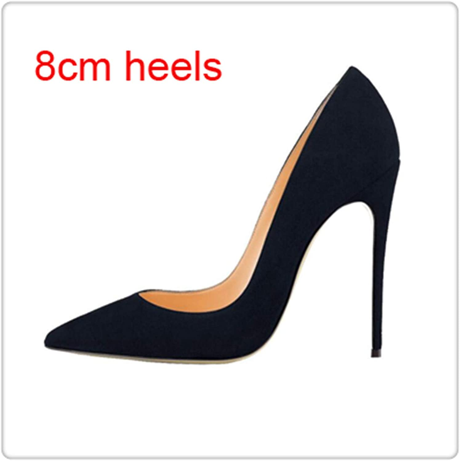 KKEPO& Plus Size Kid Suede Classical Shallow Women Dress shoes 6cm 8cm 10cm 12cm Thin High Heels Sexy Woman Party Pumps Black Suede 8cm 10