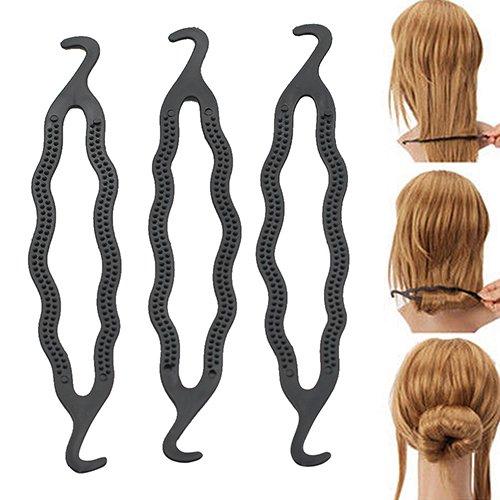 Baost 5 Pcs Double Hook Hair Twist Styling Clip Stick Hair Pin Braid Hair Bun Maker French Twist Bun Maker Clip Hook Holder Hairstyle Foam Sponge Donut Maker Ponytail Styling Tools Random