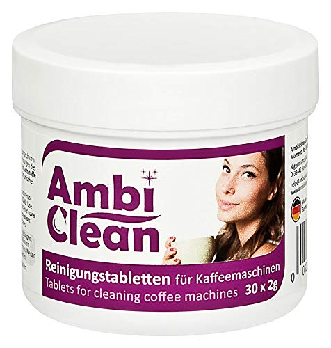 AmbiClean-Reinigungstabletten für Kaffeevollautomaten, Espressomaschinen, Pad-Maschinen, Kapselmaschinen und Getränkeautomaten I Cleaning Tablets zur Reinigung von Kaffeefetten und -Ölen I 30 Tabs