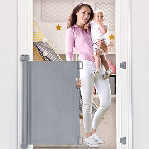 OTTOLIVES Mesh Retractable Gate for Babies, Extra Wide Safety Baby Gate 85cm Tall, Extends to 140cm Wide, Mesh Flexible Safety Gate for Indoor/Outdoor/Stairs/Doorways/Hallways (Grey)