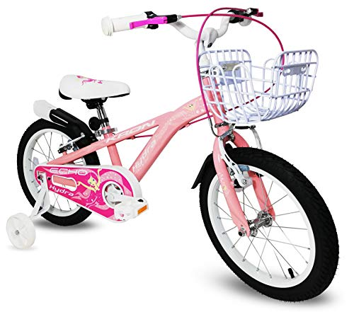 Bici bambina 16'' bicicletta Kron Hydra bimba rosa bianca fucsia rotelle cestino (Rosa - Bianco)