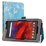 Labanema Funda para Dragon Touch M7, Slim Fit Carcasa de Cuero Sintético con Función de Soporte Folio Case para 7' Dragon Touch M7/VANKYO MatrixPad Z1/HAOQIN H7/Pritom 7 Inch Tablet - Almond Blossom