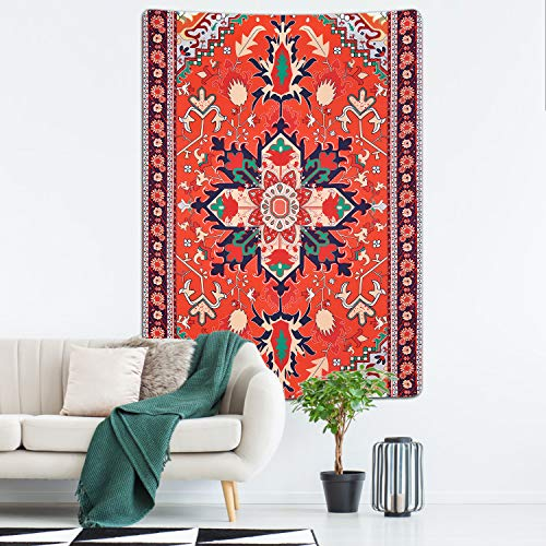Lyacmy Boho Tapestry Folk Floral Tapestry Mandala Bohemian Tapestry Flowers Tapestry Wall Hanging for Room(51.2 x 59.1 inches)