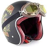 ZYW Casco Retro Motorcycleretro Fibra De Carbono Ligero Dot