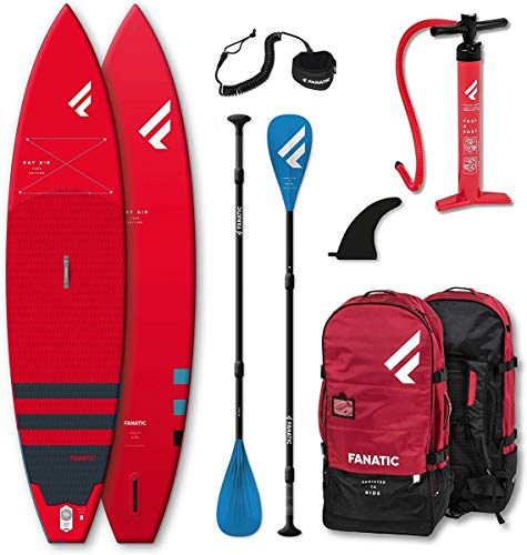 Fanatic Ray Air Touring SUP Set Fly Air iSUP Board, Pure Paddel Leash red