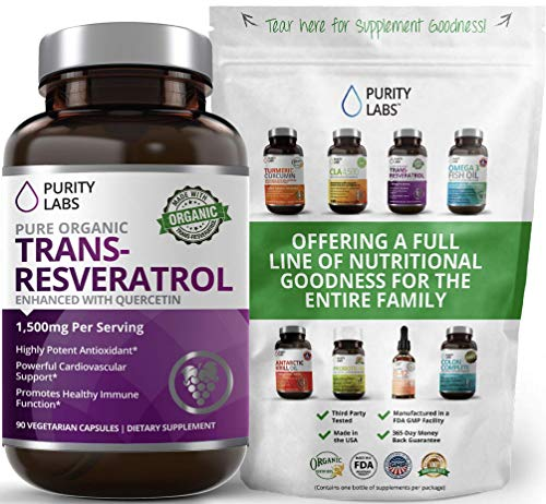 Organic Trans-Resveratrol. 1,500MG. Highest Quality and Potency Available. 90 Count. Antioxidant Supplement with Quercetin for Heart Health, Anti-Aging, Radiant Skin, Blood Sugar, Immunity Support