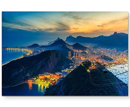 Paul Sinus Art Impression sur toile 120 x 80 cm Rio de Janeiro – Copacabana plage, Urca et Botafogo de Sugar Loaf Rio, plage, visionnage, voyage