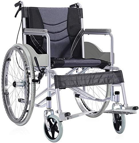 Rabbfay Cómodo Ligero Silla de Ruedas, Plegable Movilidad Ayuda Scooter con Columpio Lejos Reposapiés 18 Pulgada Asiento, para Mayor y Discapacitado Mejor Regalo,A